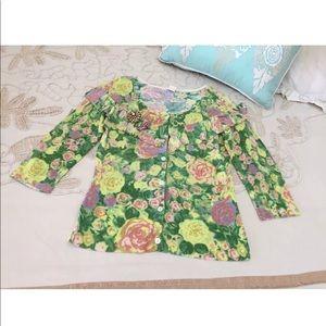Anthropologie M floral ruffle cardigan sweater